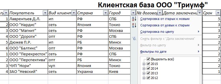 удобная база данных клиентов с фильтрами бесплатно