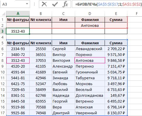 пример база данных в excel
