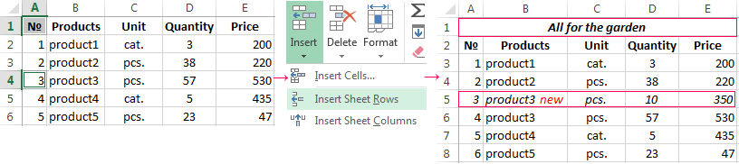 How to insert a row or a column in Excel