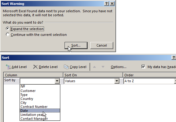 Creating a database in Excel for customers with examples and