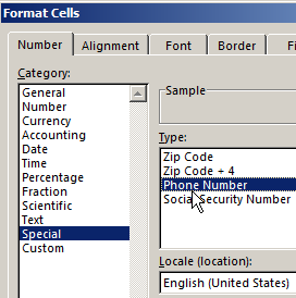 Download excel phone list template among the given options select special on the right youll see a mini list in which you need to select phone number maxwellsz