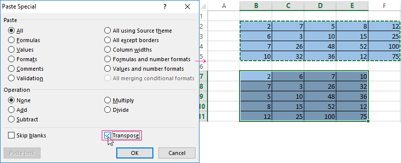 Functions for working with a matrix in Excel