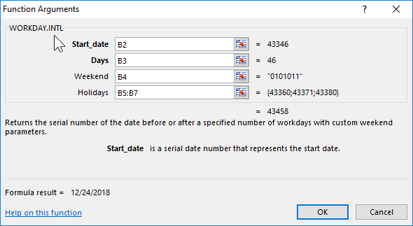 WORKDAY function to calculate number of working days in Excel