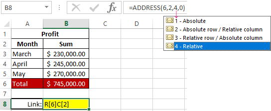 Examples of the ADDRESS function for getting the cell