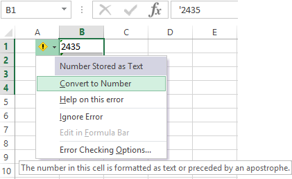 Transformation of the text to a number in the Excel cell