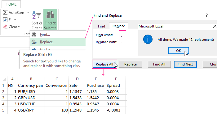 4 methods to change comma to decimal point in Excel