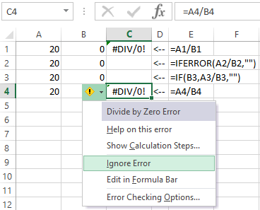 How to remove errors in Excel cells with formulas
