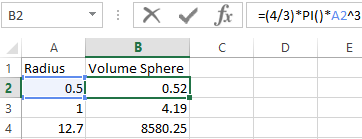 Calculating the formula of volume and area in Excel