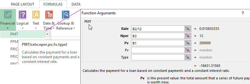 Way of calculating the percentage from the sum of numbers in Excel