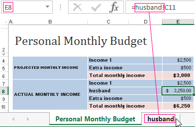 table of expenses and incomes of the family budget in excel