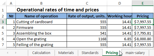 Calculation of production costs in Excel