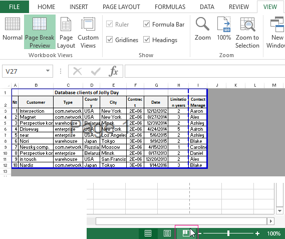excel 2013 how to insert page break