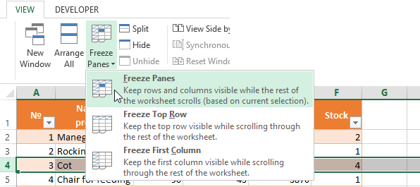 How to fix a row and column in Excel when scrolling