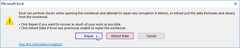excel file will not open corrupt