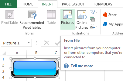 How to make a button using a macro and hyperlink in Excel