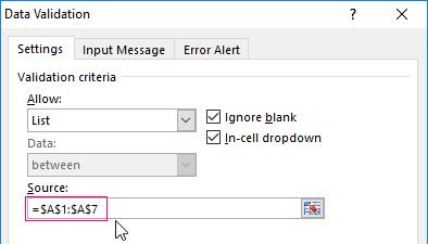 Creating a drop-down list in Excel using tools or macros