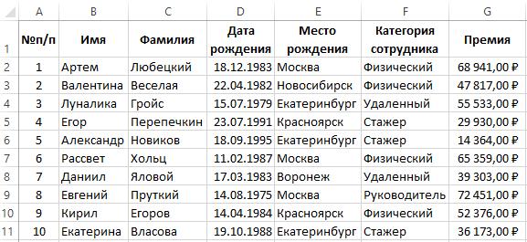 Выборка информации из базы.