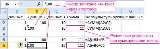 Отличие формул и функций при суммировании текста.