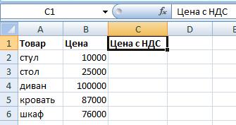 Исходные данные для сложения НДС и стоимости.