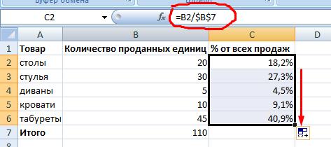 Абсолютная ссылка на ячейку в формуле.