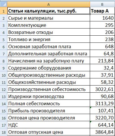 Расчет себестоимости продукции фото 176-789