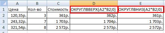 Результат функций ОКРУГЛВВЕРХ и ОКРУГЛВНИЗ.