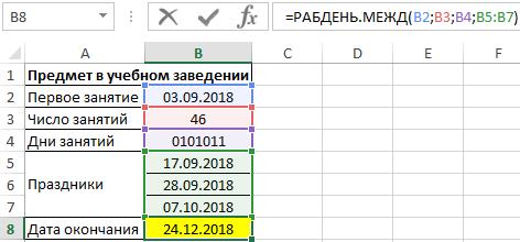 количество рабочих дней между датами.