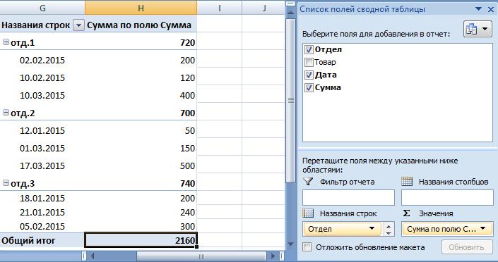 Редактирование отчета сводной таблицы.